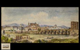 Conrad Hector Rafaele Carelli 1869-1956 Watercolour 'The Bridge at Cordova, Spain'.