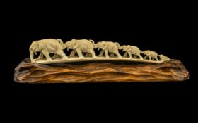 Japanese Meiji Period Carved Ivory Elephant Family,