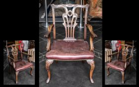 A Chippendale Georgian Style Carver Armchair,