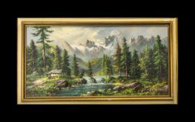 Large Oil Painting on Canvas depicting an alpine River landscape,