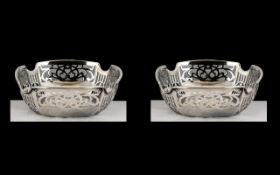 Fine Pair of Matching Sterling Silver Openwork Bon-Bon Dishes of pleasing proportions and design;