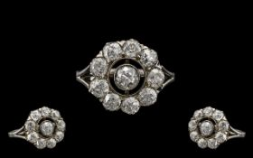 Antique Period Superb Quality 18ct White Gold Diamond Set Cluster Ring - Flower head Setting.