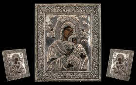 Russian Greek Silvered Metal Icon, Depicting Mother and Child with Angels, Painted Faces and Hands.