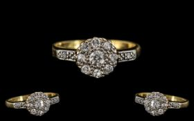18ct Gold & Platinum Diamond Set Cluster Ring Flowerhead Design, circa 1920s.
