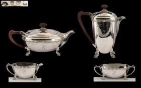 George II Style Superb Quality - Sterling Silver Four Piece Tea Service From The 1920's,