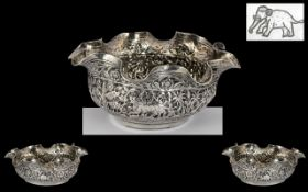 Anglo Indian - 19th Century Lucknow North India Kutch Silver - Repousse Small Bowl. c.1890's.