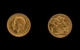 George V 22ct Gold Full Sovereign. Date 1913. Melbourne Mint. High Grade Coin.