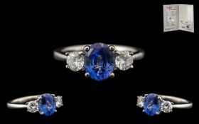 18ct White Gold - Superb Quality Contemporary 3 Stone Diamond and Sapphire Dress Ring,