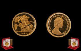 Queen Elizabeth II Royal Mint 22ct Gold Proof Struck Half Sovereign. Date 1980.