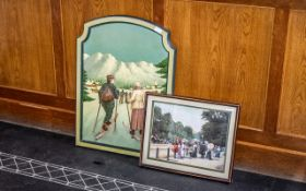 """Embossed Framed 3D Picture of The Mall by A W Smith, measures 19"""" x 16""""."""