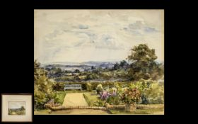 Conrad Hector Rafaele Carelli 1869-1956 Titled English Summer Garden Landscape with Hills and