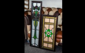 Two Old Pieces of Leaded Glass, in modern frames,