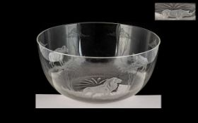 Roland Ward Niarobi Engraved Glass Bowl, Depicting Lions, Buffalo and Rhinos In Landscape. Unsigned.