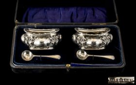 Edwardian Period Pair of Fine Sterling Silver Salts and Matching Spoons of Excellent Quality and