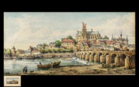 Conrad Hector Rafaele Carelli 1869-1956, Listed Artist, Watercolour 'The Bridge at Nevers'.