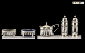 Late Victorian Period Quality Five Piece Sterling Silver Cruet Set of excellent,