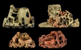 A Collection Of Chinese Carved Soap Stone Brush Pots - Four In Total, Comprising Monkeys, Rats Etc.