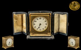 Zenith Watch Company Excellent Quality Gilt Metal Square Shaped Small Travel Clock in fitted