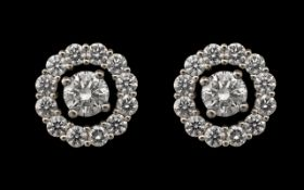 18ct White Gold Superb Quality & Attractive Pair of Diamond Set Earrings of contemporary design.
