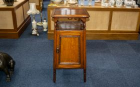 Early 20thC Oak Gramophone Pedestal Table/Stand the fitted top with sliding top with hinged well