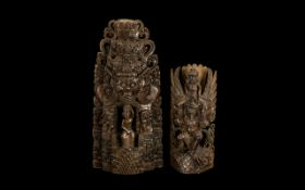 Indonesian Carved Wood Temple Group with deities and maidens, 16 inches (40cms) high,