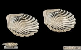 Edwardian Period 1902 - 1910 Superb Quality Pair of Sterling Silver Dishes In Oyster Shell Form and