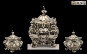 Victorian Period Wonderful Sterling Silver Lidded Tea Caddy of Excellent Form and Profuse