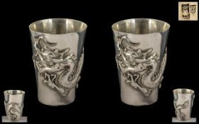 Chinese Export 19th Century Fine Pair of Solid Silver Tots - wonderful decoration,