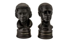 Wedgwood Ltd and Numbered Edition Fine Pair of Black Basalt Busts of H.M.