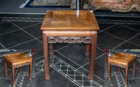 Small Chinese Hardwood Side Table with a carved fret-work frieze of typical Ming period design,