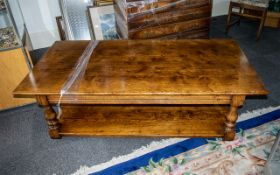 A Quality Oak Plank Coffee Table of traditional pegged construction.