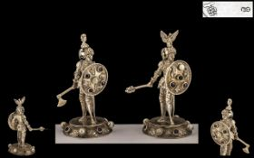 A Fine Pair of German 19th Century Hanau Silver and Jeweled Set Figures of Medieval Soldiers,