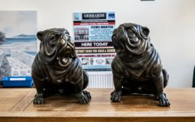 A Pair of Reproduction Bronze Figures of Standing Bull Dogs with expressive faces. Measuring 21