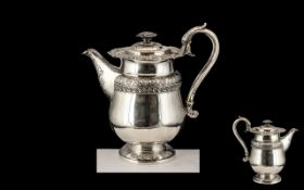 George IV - Superior and Impressive Sterling Silver Teapot of Pleasing Design and Proportions.