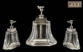 Art Deco Period Silver Mounted Glass Atomiser - Scent Bottle. Excellent form and design.