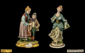 Capo-di-Monte Fine Pair of Handpainted & Signed Porcelain Figures. 1.