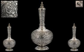 Anglo Indian 'Kutch' Superb Late 19th Century Solid Silver Repousse Lidded Vase.