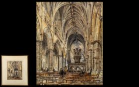 Conrad Hector Rafaele Carelli 1869-1956 Watercolour Titled 'Exeter Cathedral.