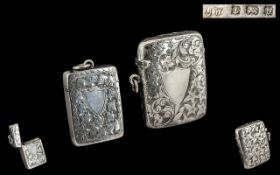 Late Victorian Period Good Quality - Sterling Silver Hinged Vesta Case with Vacant Cartouche.