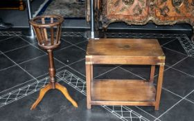 A Small Mahogany Side Table with brass strap work in corners.