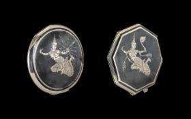 Silver Niello Octagonal Shaped Compact with Inlaid Silver Figures to Front and Back Cover,