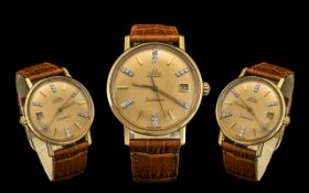 Omega Seamaster Rare All Original Automatic 18ct Gold Gentleman's Wrist Watchcirca 1970s.