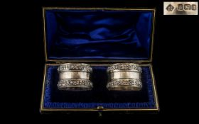 Edwardian Period Excellent Matched Pair of Sterling Silver Napkin Holders In Original Display Box.