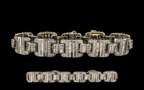 18ct White Gold Superb Diamond Set Bracelet - Expensive Setting.
