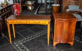 A Yew Wood Side Table of rectangular for with dummy frieze drawers on square tapering legs.