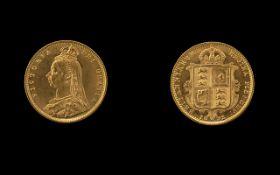Queen Victoria Jubilee Head/Shield Back Half Sovereign. Date 1892, London mint.
