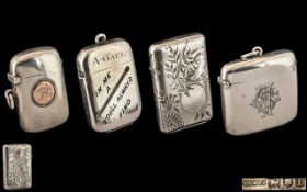 A Collection of Antique Period Sterling Silver Vesta Cases ( 4 ) Four In Total.
