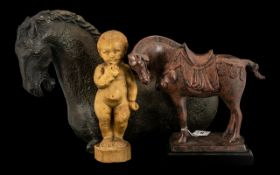 Two Pottery Glazed Horses after the Chinese Antiques one standing on base and measuring 10 inches