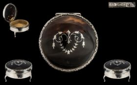 Fine Quality - Early 20th Century Round Silver and Tortoiseshell Covered Hinged Trinket Box,