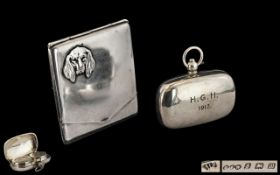 Edwardian Period - Nice Quality Sterling Silver Rectangular Shaped Full Sovereign and Half